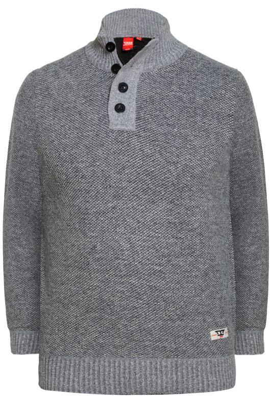 Jumpers D555 Grey Button & Zip Sweater 201895