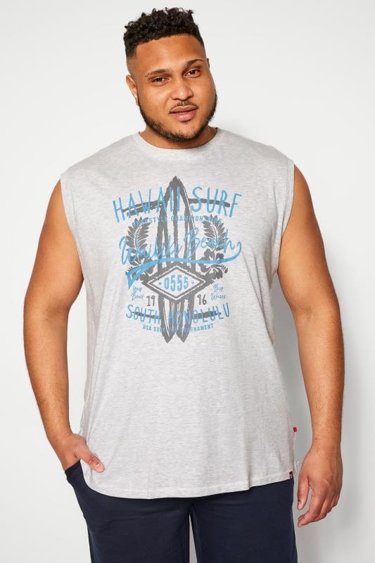 Plus Size Vests D555 Grey Marl Hawaii Surf Vest