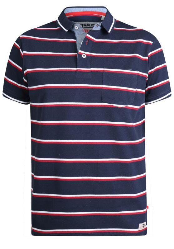 D555 Navy & Red Striped Polo Shirt