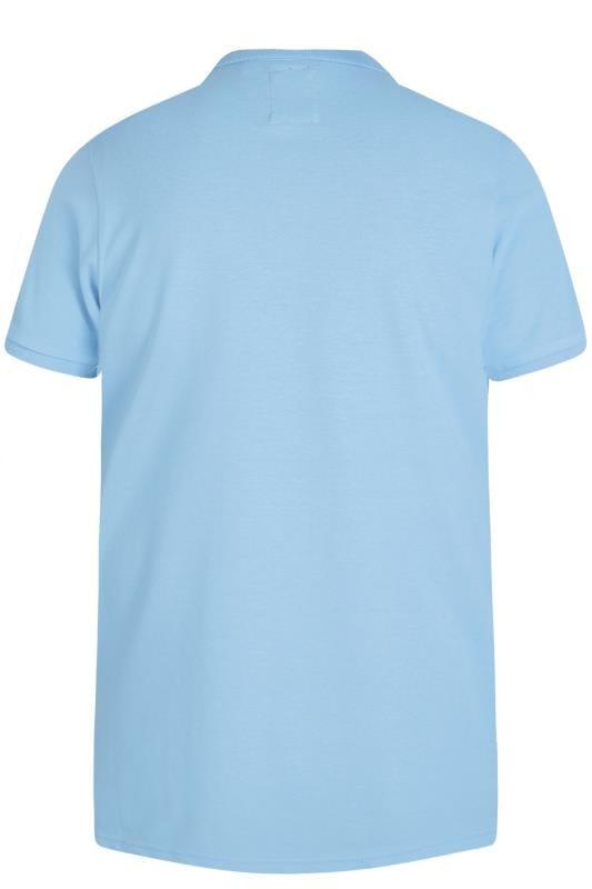 D555 Couture Light Blue Chevron Colour Block Polo Shirt