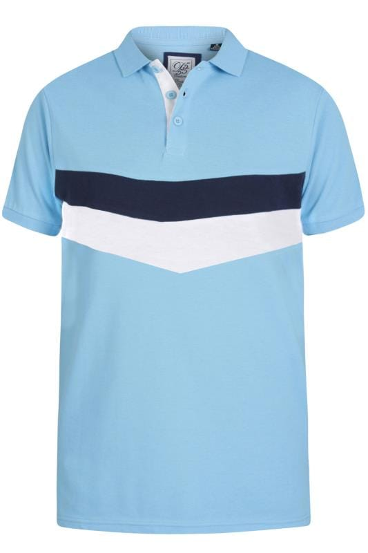 D555 Couture Light Blue Chevron Colour Block Polo Shirt