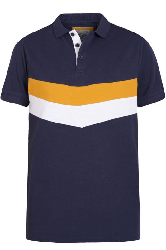 D555 Couture Navy Chevron Colour Block Polo Shirt