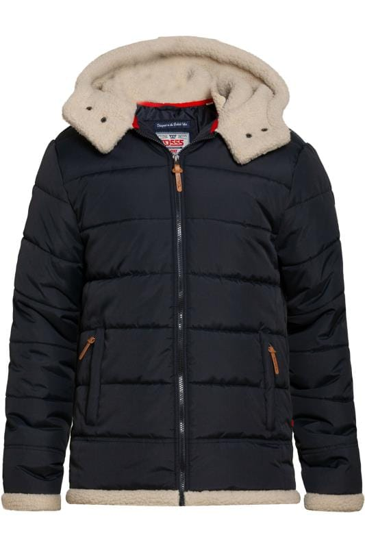 Plus Size Coats D555 Navy Padded Coat