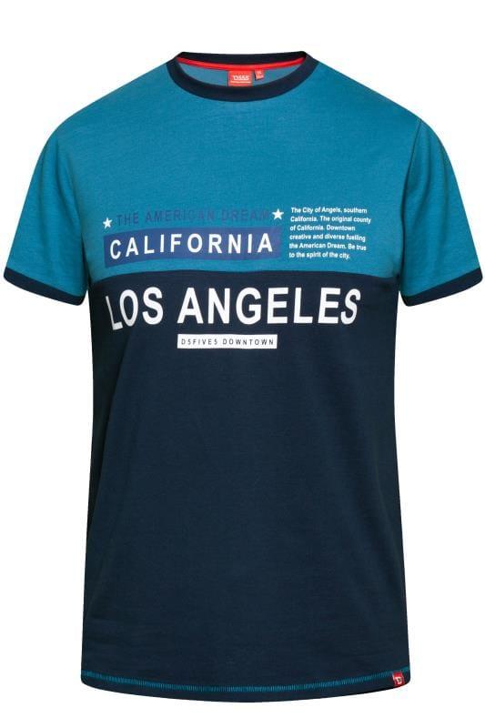 D555 Teal 'Los Angeles' Slogan T-Shirt