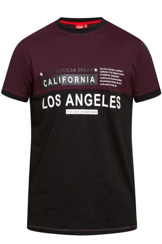 D555 Burgundy 'Los Angeles' Slogan T-Shirt