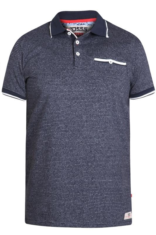 Plus Size Polo Shirts D555 Navy Stripe Polo Shirt