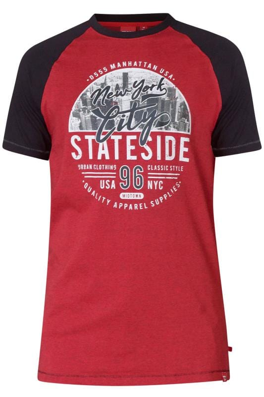 T-Shirts D555 Red Marl NYC Graphic Print T-Shirt 202483