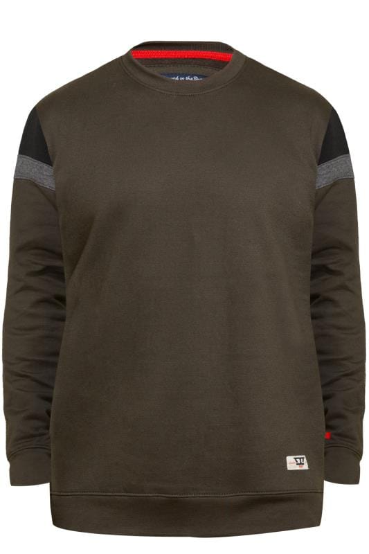 Plus Size Sweatshirts D555 Khaki Cut & Sew Sweatshirt