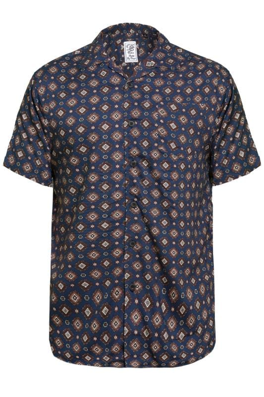 Casual Shirts D555 Navy Revere Collar Printed  Shirt 201743
