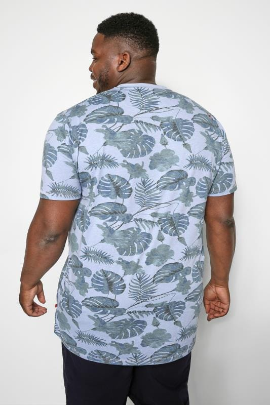 D555 Light Blue Tropical Leaf Print T-Shirt
