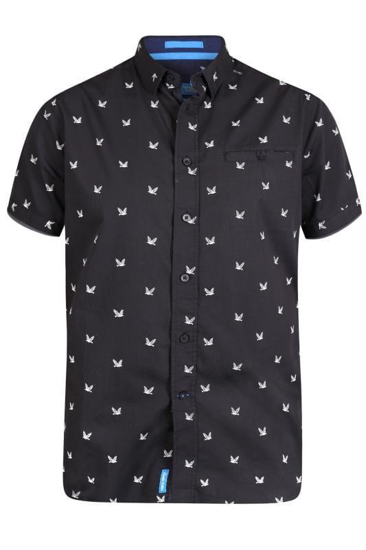 Plus Size Casual Shirts D555 Black Bird Print Shirt