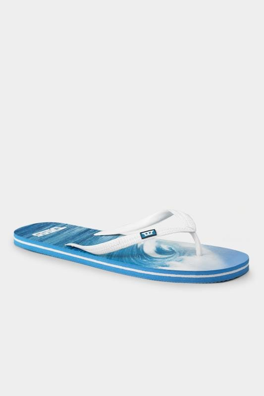 Footwear D555 Blue Hawaii Print Flip Flops 202473