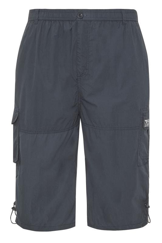 Plus Size Cargo Shorts D555 Navy Leg Pocket Cargo Shorts