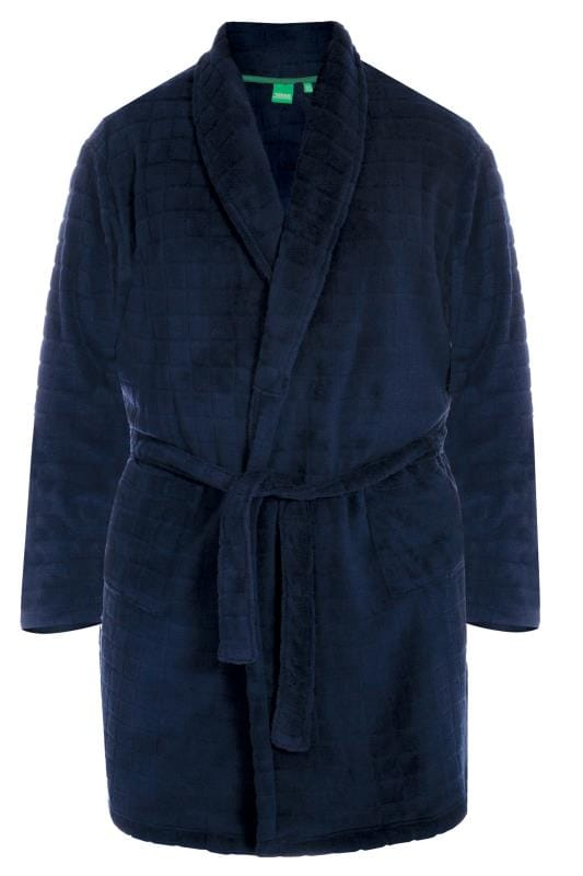 Nightwear D555 Navy Fleece Dressing Gown 201798