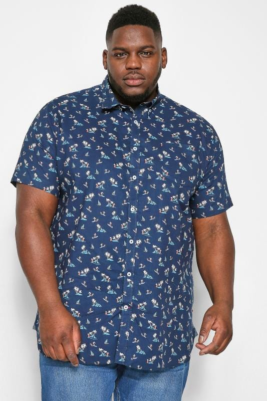 Casual Shirts D555 Navy Hawaiian Surf Print Shirt 202429