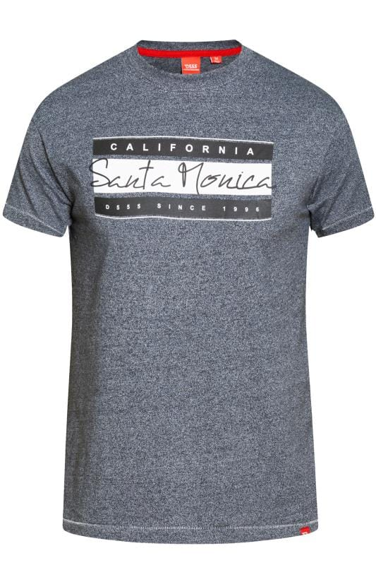 D555 Navy Marl 'Santa Monica' Printed T-Shirt