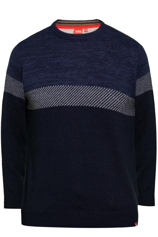 Jumpers D555 Navy Panel Knit Jumper 201883