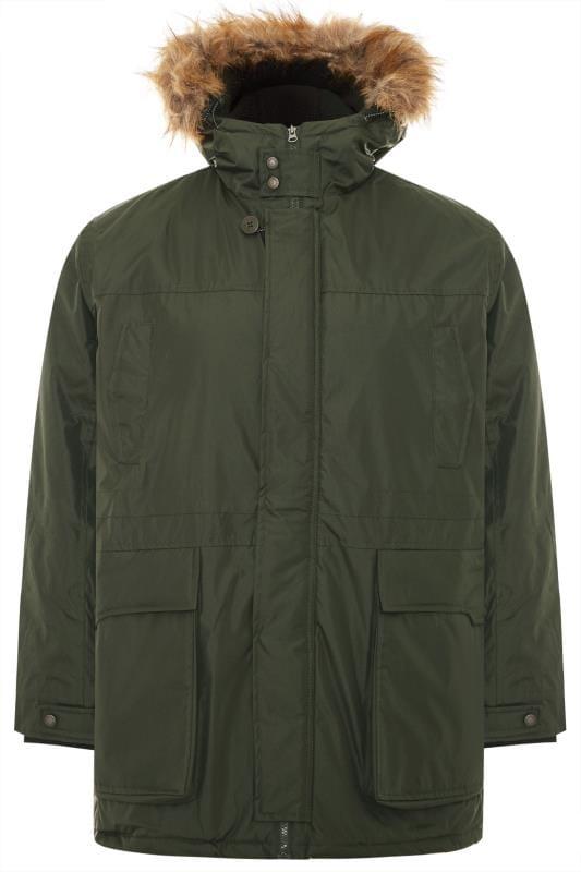 Jackets Grande Taille D555 Khaki Faux Fur Trim Parka Jacket