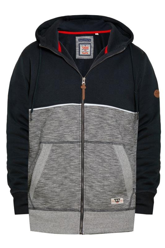 Tall Hoodies & Sweatshirts D555 Navy Piped Zip Through Hoodie 201879