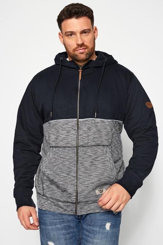 Tall Hoodies & Sweatshirts D555 Navy Piped Zip Through Hoodie 201879
