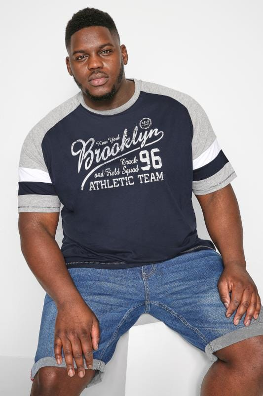 Plus Size T-Shirts D555 Navy Slogan Raglan T-Shirt