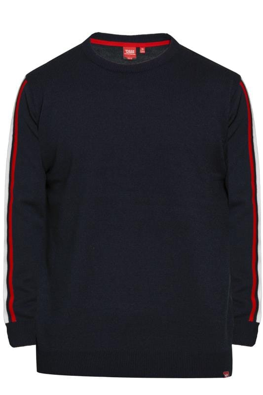 Tall Jumpers & Cardigans D555 Navy Taped Crew Neck Jumper 201887