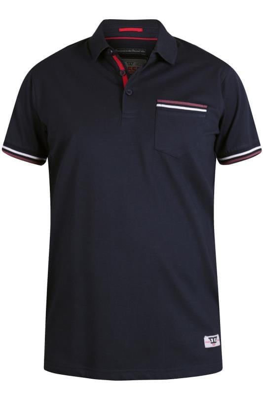 Polo Shirts D555 Navy Taped Polo Shirt 201860