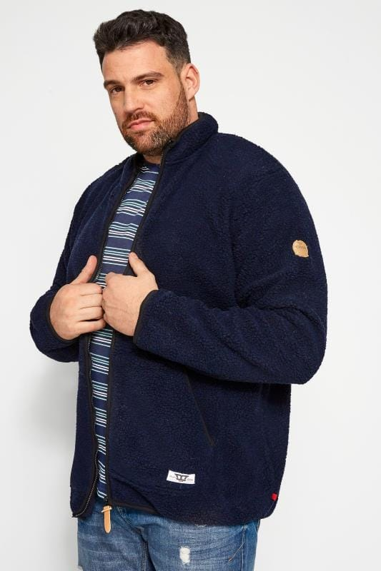 Plus Size Fleece D555 Navy Zip-Through Fleece