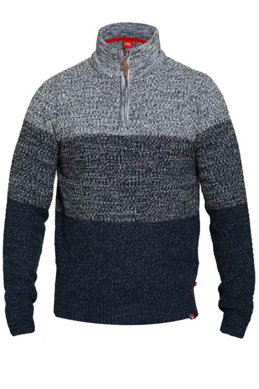 Men's Jumpers D555 Navy Funnel Neck Knit Jumper