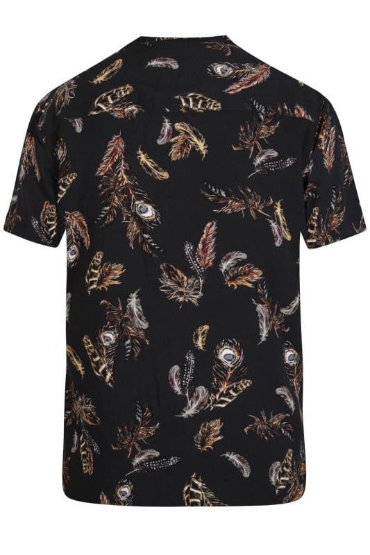 D555 Couture Black Feather Print Shirt