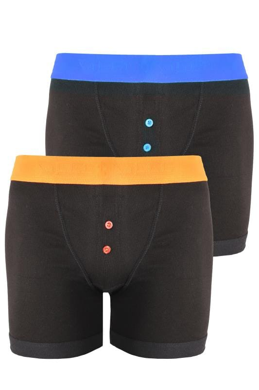Plus Size Boxers & Briefs D555 2 PK Black Boxer