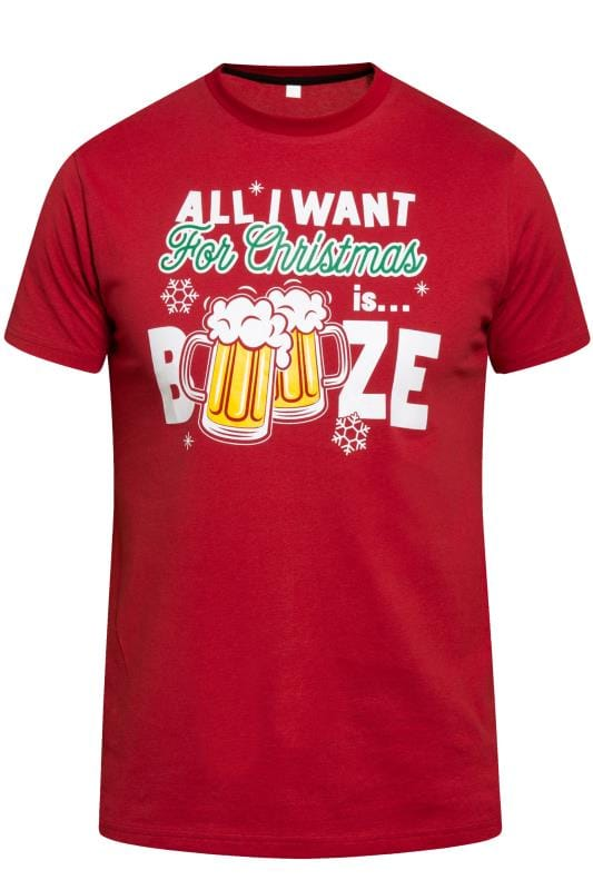 T-Shirts D555 Red Booze Christmas Graphic Print T-Shirt 201843