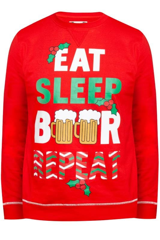 D555 Red Eat Sleep Christmas Jumper