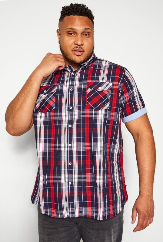 Casual Shirts D555 Red & Navy Check Shirt 202433