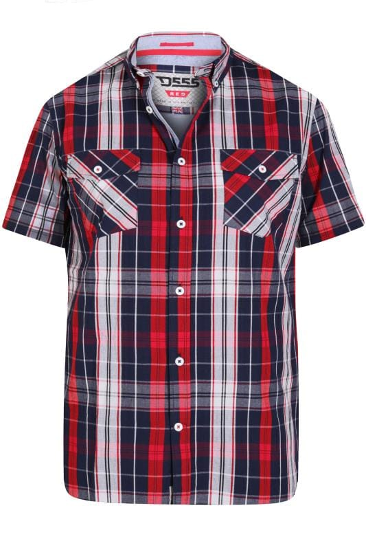 Men's Casual Shirts D555 Red & Navy Check Shirt