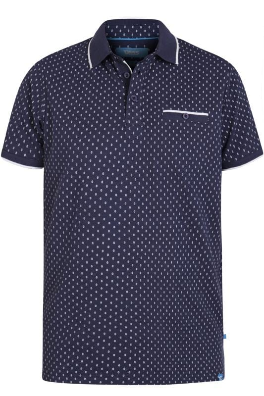 Polo Shirts D555 Navy Patterned Polo Shirt 202556