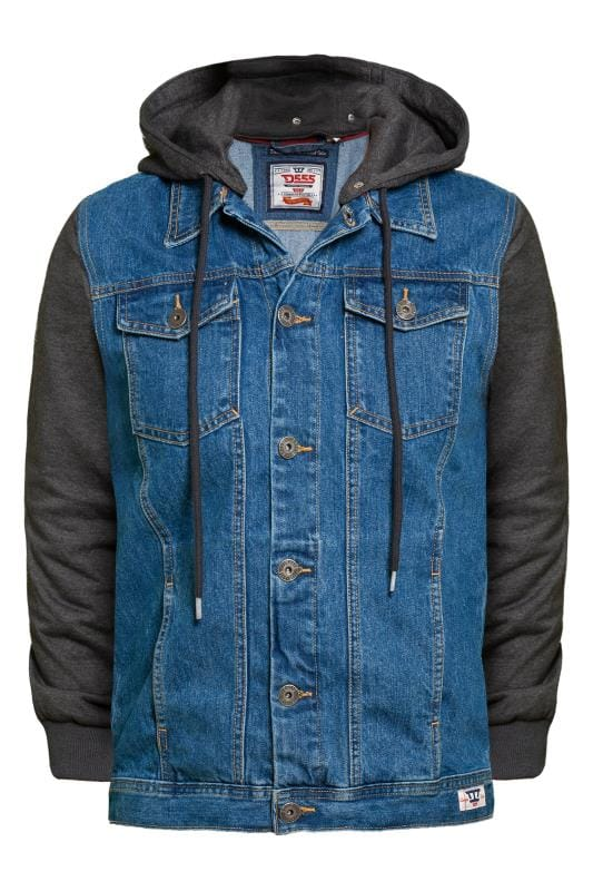 Plus Size Jackets D555 Blue Denim Jacket with Jersey Sleeves