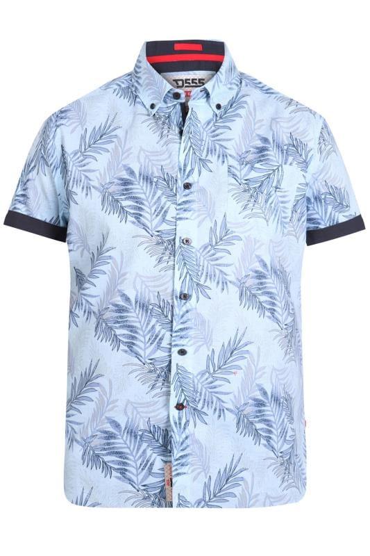 D555 Sky Blue Hawaiian Leaf Print Shirt