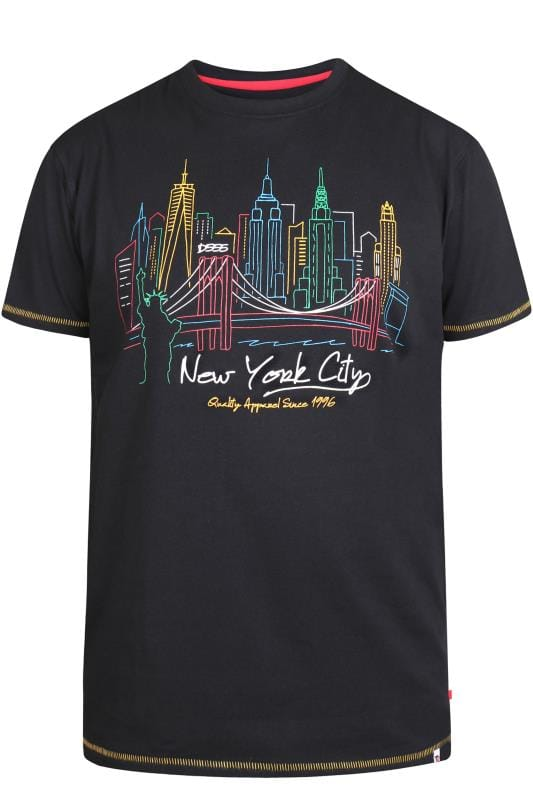 Plus-Größen T-Shirts D555 Black NYC Graphic Print T-Shirt