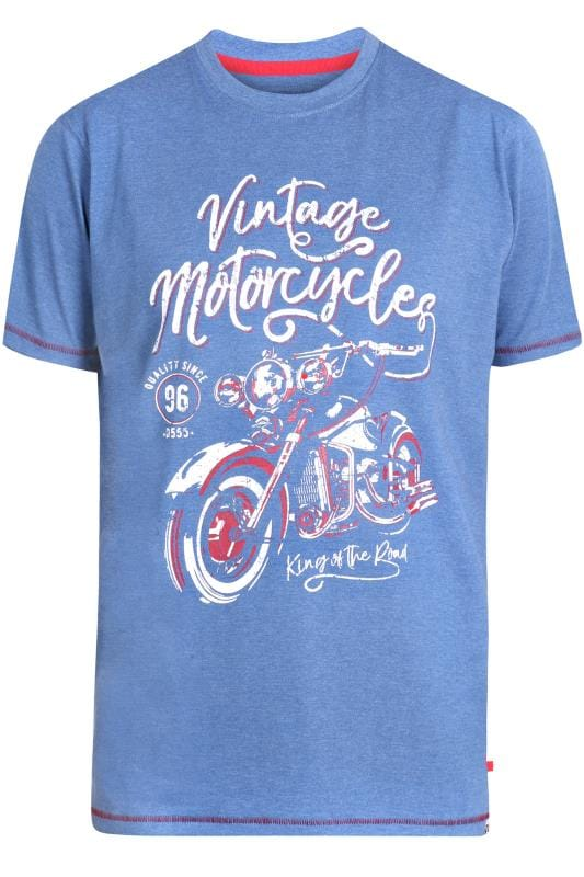 Plus Size T-Shirts D555 Blue Marl Motorcycle Graphic Print T-Shirt