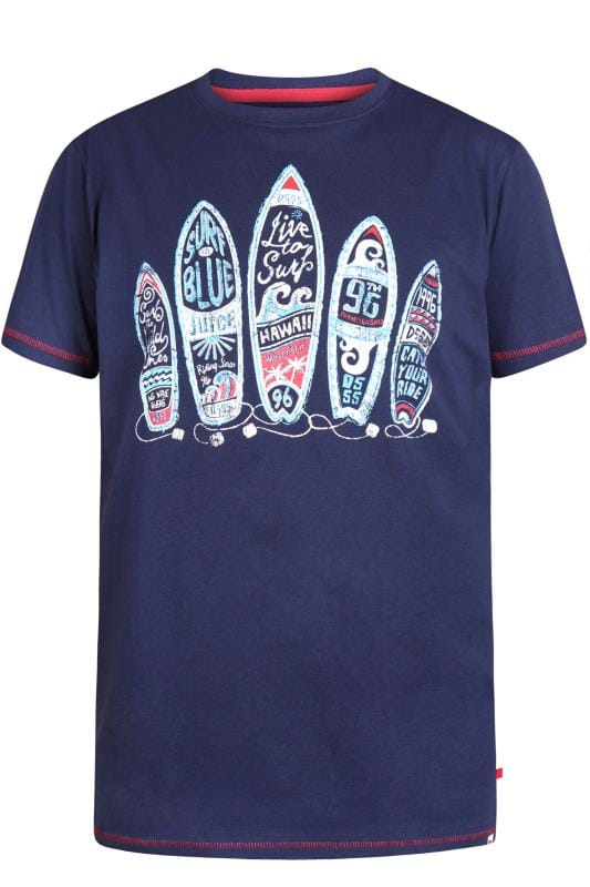 Plus Size T-Shirts D555 Navy Surfboard T-Shirt