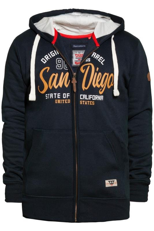 Plus Size Hoodies D555 Navy Printed Zip Through Hoodie
