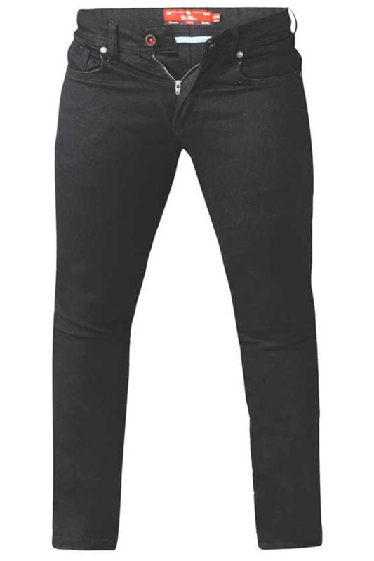 Plus Size Tapered D555 Black Tapered Stretch Denim Jeans