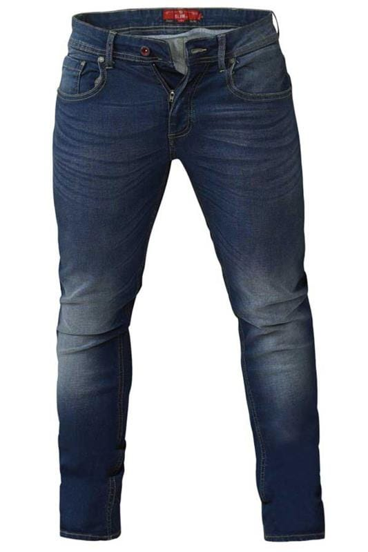 Plus Size Tapered D555 Blue Tapered Stretch Denim Jeans