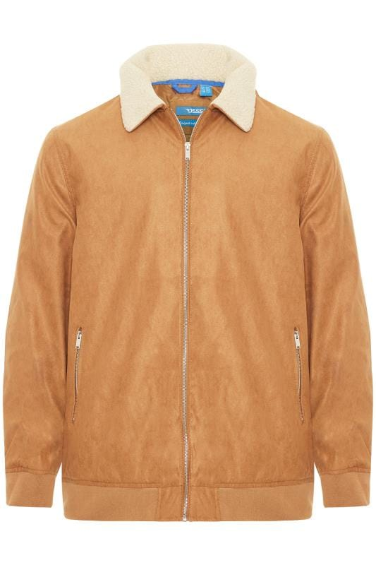 Jackets D555 Tan Padded Faux Suede Bomber Jacket 201761