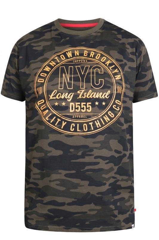 Plus Size T-Shirts D555 Khaki 'NYC' Camo T-Shirt