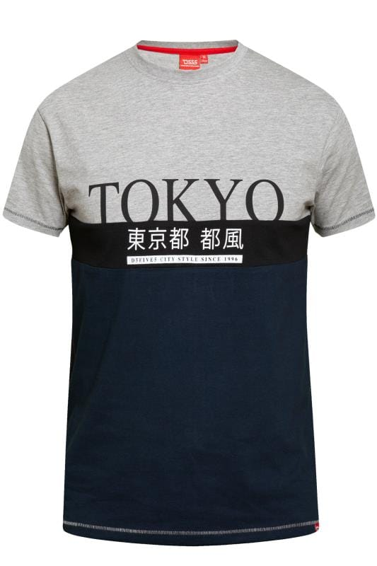 Men's T-Shirts D555 Grey & Navy Colour Block Tokyo Slogan T-Shirt