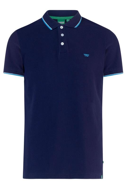 Plus Size Polo Shirts D555 Navy Tipped Polo Shirt