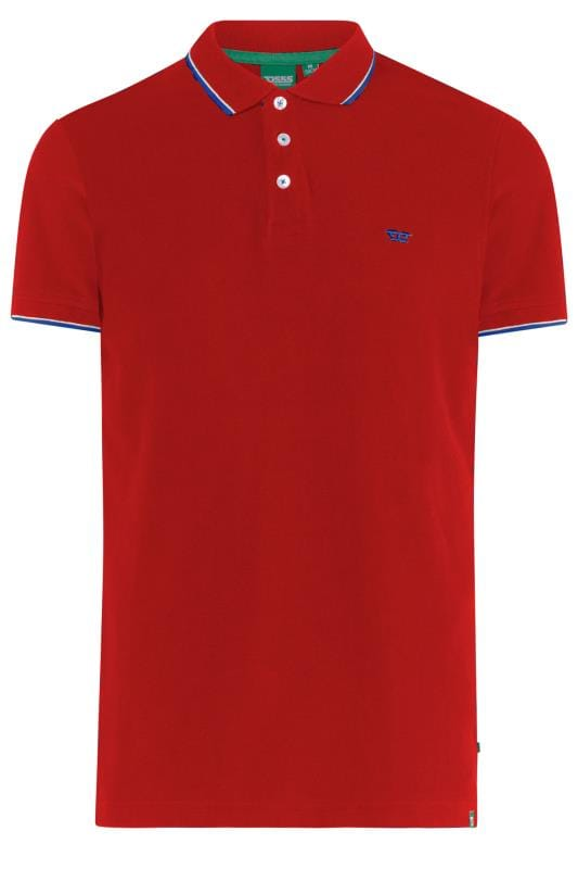 Polo Shirts dla puszystych D555 Red Tipped Polo Shirt