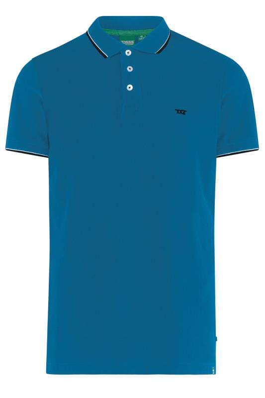 Plus-Größen Polo Shirts D555 Turquoise Blue Tipped Polo Shirt